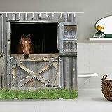 SUHOM Duschvorhang,Farm Grassland Scheunentür Hintergr& Holz Pferd Pferdestall Saloon Gate Tür Western Back Drop,personalisierte Deko Badezimmer Vorhang,mit Haken,180 * 210