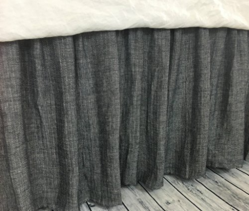 Buy Discount Chevron Ink Linen Bed Skirt, chevron weave on both sides, Distinct Style