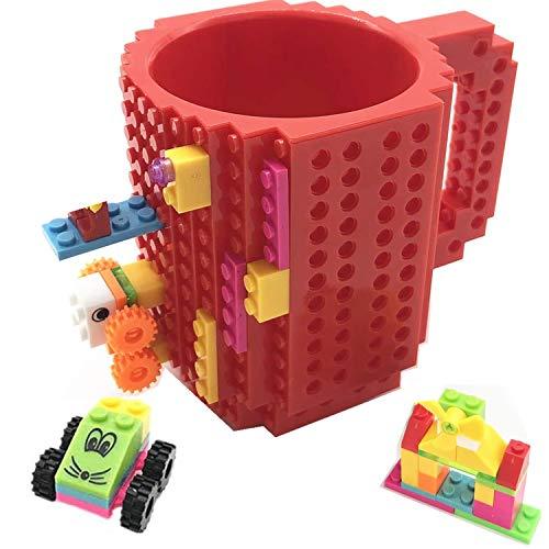 VANUODA Build-on Brick Mug, Tazza di caffè, Regali Originale per Uomo Lui Donna Mamma Bambini Amici Ragazzo, Idea Regalo per Natale Pasqua Festa del papà Compleanno, Compatibile con Lego (Rosso)