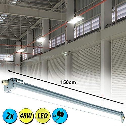 2er Set 48W LED Industrie Wannen Lampen Decken Röhren Leuchten Tageslicht Lager Hallen Beleuchtung