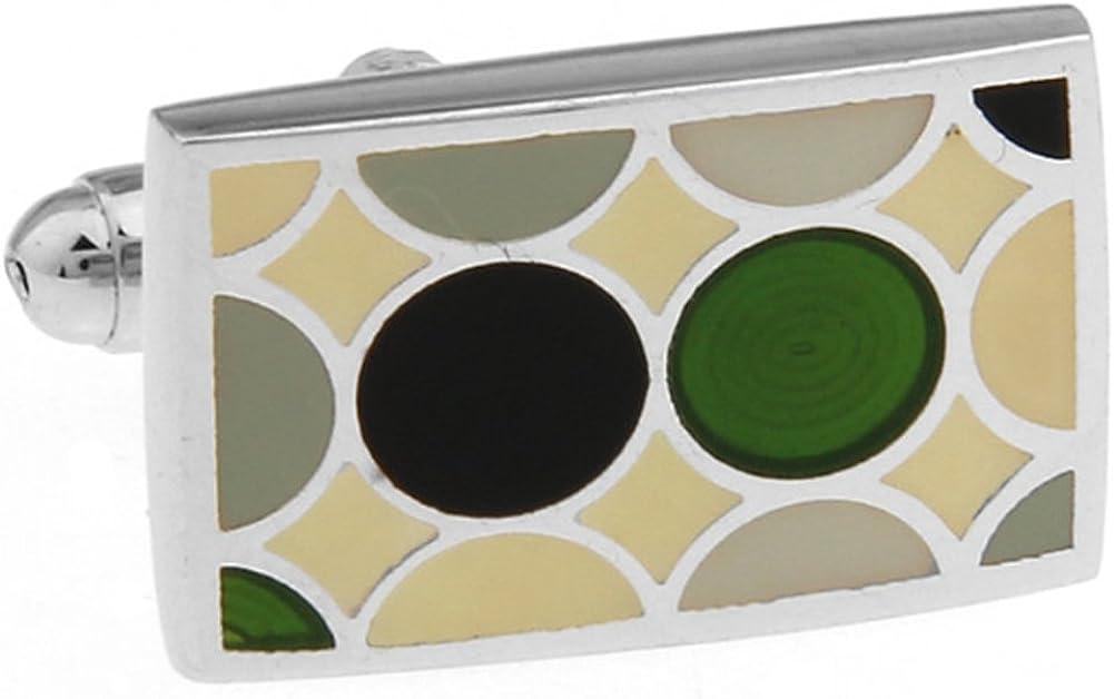 Williams and Clark Men's Executive Cufflinks Garden Tile Green and Black Polka Dot Rectangle Cuff Links