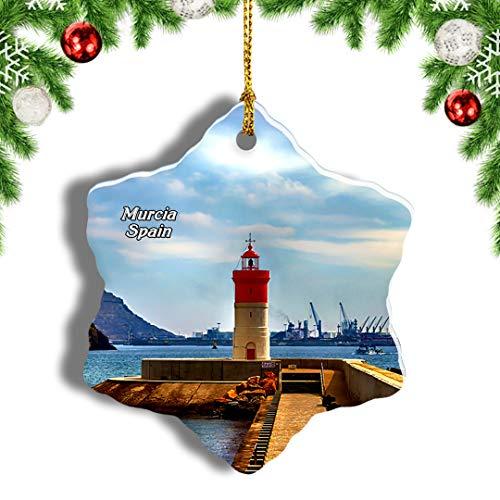 Weekino España Faro Navidad Cartagena Murcia Decoración de Navidad Árbol de Navidad Adorno Colgante Ciudad Viaje Porcelana Colección de Recuerdos 3 Pulgadas