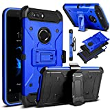 Venoro Compatible with ZTE Blade Z Max Case, ZTE ZMax Pro 2 Case, ZTE Sequoia Case, Shockproof Protection Case Cover with Belt Swivel Clip and Kickstand Compatible with ZTE Z982 (Blue)