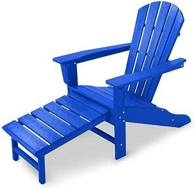 Polywood HNA15PB Palm Coast Adirondack Chair, Pacific Blue