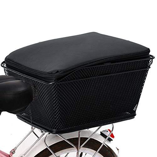 Lixada Cestino Bicicletta Posteriore Universale per Adulti, Cestino Bici Posteriore in Rete Cestino Bici in Filo Metallico di Grande capacità Copertura Antipioggia Impermeabile