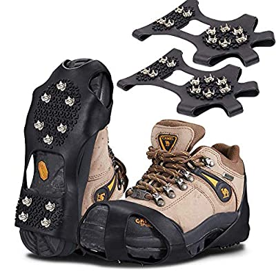 HONYAO Traction Cleats Ice Grips, Anti Slip Snow Grips with 10 Teeth Stainless Steel Durable Silicone for Ice Walking, Ice Fishing, Hiking, Climbing
