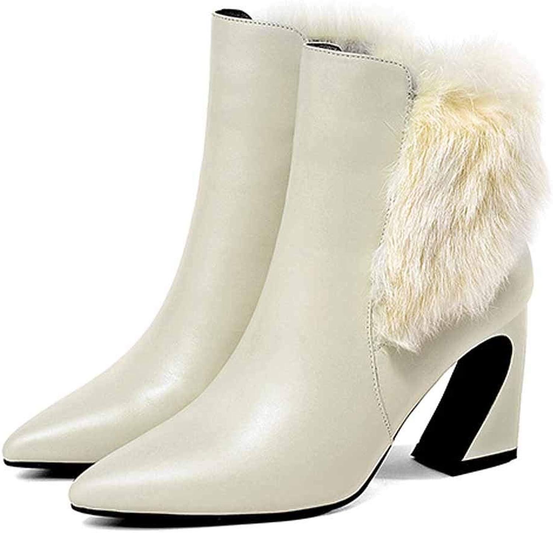WANG-LONG Schuhe Damen Martin Spitze Leder High-Heel Kurze Herbst Winter Warm Atmungsaktiv Rutschfest, Weiß-36  | Tragen-wider
