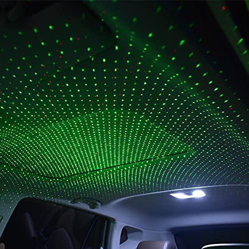 DELITLS Luz de noche USB proyector de estrella, luces de techo automáticas, 2 en 1, luces de techo automáticas regulables, románticas rojas/azules interiores del coche, atmósfera romántica (B)
