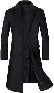 Men's Long Slim Peacoat Winter Business Wool Blazer Gentlemen Trench Coat
