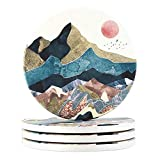 Lahome Mountain Range Coasters - Round Drinks Absorbent Stone Coaster Set with Ceramic Stone and Cork Base for Kinds of Mugs and Cups (Sunset, 4)