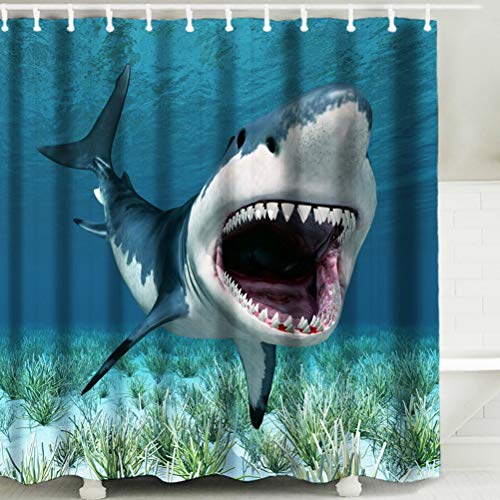 Litthing Douchegordijn Waterdichte Polyester 3D Digital Printed Schimmelbestendig Thick Polyester Large Shower Curtain,Sandfish,180 * 200cm