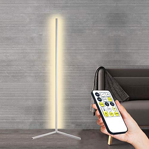 GDFGTH Lámpara De Pie De Esquina 142Cm Nórdica Minimalista Moderna Lámpara De Pie LED De Esquina con Mando A Distancia Atenuación Continua para Salón Dormitorio Y Oficina Decoración,Blanco