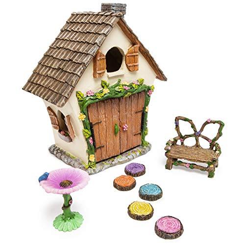Meadow & Oak Fairy House Kit, Outdoor Fairy Garden Kit for Kids & Adults, Fairy Garden House with...