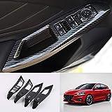 para Focus MK4 2019-2021 Hatchback 5 puertas puerta Interior reposabrazos tapajuntas Plástico ABS 4 Piezas (Color de fibra de carbono)