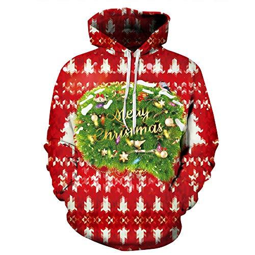 3D print hoodie Unisex Fashion 3D bedrukt Kerstmis groene planten losse hippie pullover met capuchon hoodie sweatshirt sportief leger met zakken paar baseball uniform voor leerlingen Top Coa