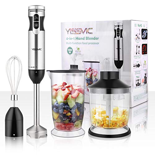 YISSVIC Hand Blender 1000W 700ml Immersion Blender 9 Speed Control, 4 In 1 Powerful Stick Blender, Chopper, Whisk, 500ml Food Grinder for Sauces Smoothie Puree Infant Food Arkansas