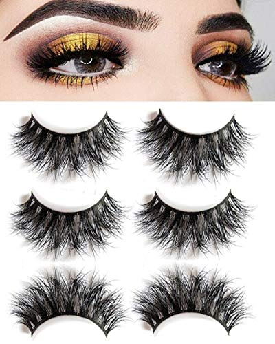 3D Mink False Eyelashes-Dramatic Makeup Strip Eyelashes 100% Siberian Fur Fake Eyelashes Hand-made Natural Messy False Eyelashes& Reusable 3 Pair Package