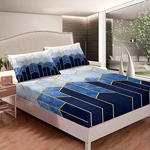 Juego de cama de mármol geométrico con funda de cama de nido de abeja, elegante sábana bajera hexagonal de colmena metálica de rayas doradas, sábana plana/superior no incluida