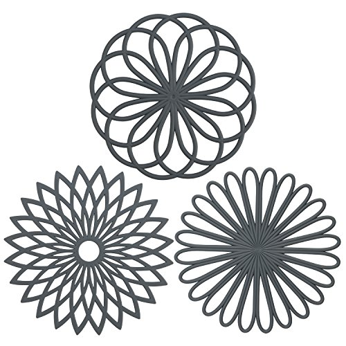 IPHOX 3 Set Silicone Multi-Use Trivet Mat Flexible Durable Non Slip Coasters-JHF (Dia 7.87 inch, Gray)