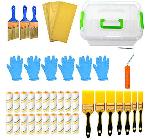 kingorigin gran nuevo 50 piezas Kit de Pintura Brocha, rodillo de pintura, pintura, pinceles, caja de herramientas de almacenamiento caso