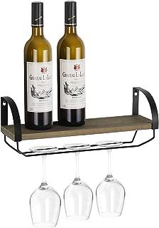 NEX Wall Mounted Wine Rack - Long Stem Glass Holder - Floating Shelf - Home & Kitchen Storage Rack Décor - Rustic Wood/Olive-Green