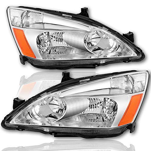 BRYGHT For 2003/2004 / 2005/2006 / 2007 Honda Accord Headlight Assembly Replacement Chrome Housing Headlamp with Amber Reflector Driver and Passenger Side (Chrome)