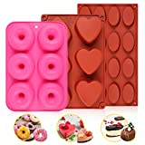 MAN NUO Silicone Sphere Mold,Shot Chocolate Bomb Mold,Baking Mold Donut Mold for Making Hot Chocolate Bomb,Heart-Shaped Cake,Jelly,Donut-Non Stick(3Pcs)