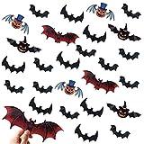 Décorations de chauve-souris d'Halloween - 120 PCS 3D Citrouille Chauves-souris Stickers Muraux, Imperméables Bats Craft Fenêtre Autocollants, Muraux pour Décorations d'Halloween Intérieur Extérieur