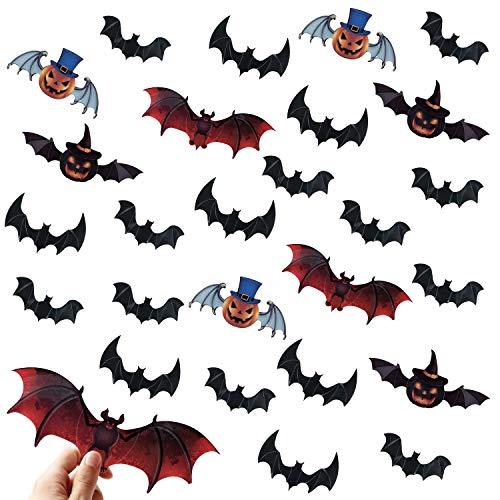 Suministros para fiestas de decoraciones de murciélagos de Halloween -120 calcomanías de pared de murciélagos de calabaza 3D, pegatinas de ventana artesanales de murciélagos espeluznantes impermeables