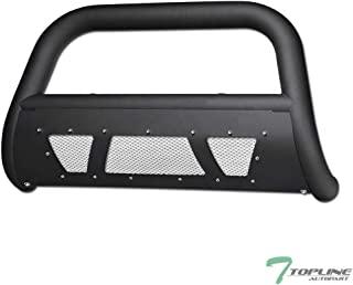 Topline Autopart Matte Black Studded Mesh Bull Bar Brush Push Front Bumper Grill Grille Guard With Skid Plate For 16-19 Toyota Tacoma