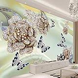 Hhkkckカスタム任意のサイズの壁画壁紙3Dステレオジュエリー花蝶フレスコリビングルームテレビソファ高級家の装飾壁紙3 D-200X150Cm