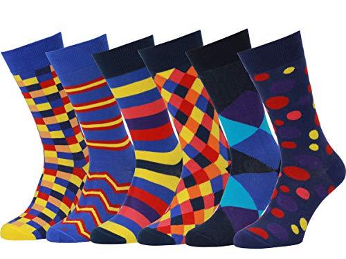 Easton Marlowe 6 Paar Bunt Gemusterte Herren Socken - 6pk 23, gemischt - neutrale Hauptfarben, 43-46 EU Schuhgröße