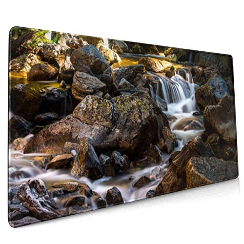 Reek Environment Fall Flow Forest Landscape Mossy Rocks Mouse Pad Niet Slip Rubber Grote Gaming Keyboard Mat 15.8x35.5 In