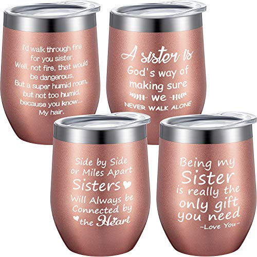4 Pieces Sister Wine Tumbler Set, Funny Gifts for Sister, Sister in Law, Female Friends, Soul, Little, Big Sister, Sister Gift from Sister Brother, 12 oz Wine Tumbler with Straws, Lids and Brushes