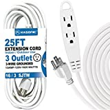 outdoor extension cord 25 ft - 25-Feet 3 Outlet Extension Cord, Kasonic UL Listed, 16/3 SJTW 3-Wire Grounded, 13 Amp 125 V 1625 Watts, Multi-Outlet Indoor/Outdoor Use (25FT)