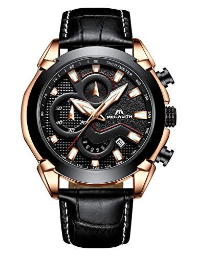 Megalith Relojes Hombre Relojes de Pulsera Militar Elegante Negro Esqueleto Automatico Mecanicos Acero Inoxidable Reloj de Analogicos Clasicos Impermeable Diseño