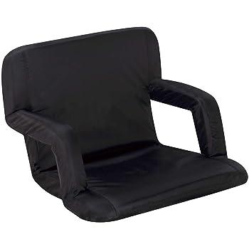 Naomi Home Venice Stadium Seat for Bleachers Portable Reclining with Armrest Black/Standard