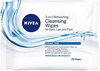 NIVEA 3-in-1 Refreshing Cleansing Wipes, 25 Wipes