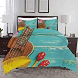 Duvet Cover Set Music Pattern Printed Comforter Quilt Cover Ukulele with Hawaii Style Background Wooden Classical Vacation Stylized Decorative 3 Piece Bedding Set with 2 Pillow Shams Full Size