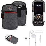 K-S-Trade® Gürtel-Tasche + Kopfhörer Für Cyrus cm 16 Handy-Tasche Schutz-hülle Grau Zusatzfächer 1x
