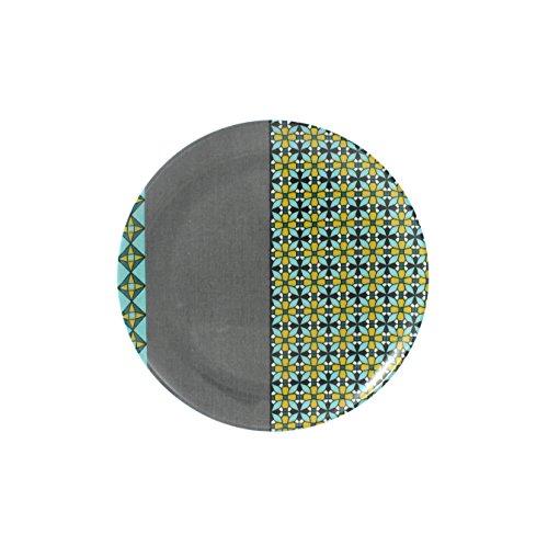 Cartaffini - Assiette à fruits PROVENZA - Gris/turquoise/ocre - en mélamine avec décor en véritable tissu (seelvy), Ø 21 cm