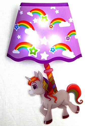 Nachtlicht Einhorn 18 x 26 cm magisches Einhorn als Wandleuchte Wandsticker mit Klatschen einschaltbar - Sticker mit 3 LED