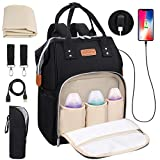 Baby Wickelrucksack Wickeltasche mit Wickelunterlage, Multifunktional Große Kapazität Babytasche Reisetasche für Unterwegs, Oxford Babyrucksack mit USB-Lade Port (Schwarz)