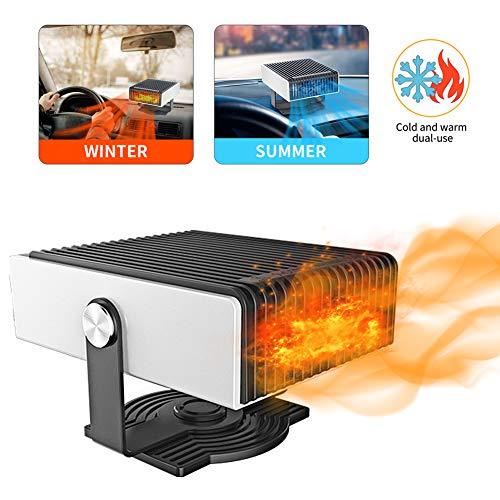 Qdreclod Calefactor y Ventilador de Coche 2 en 1, 12V Portátil Descongelador de Coche con Bajo Nivel de Ruido, Rotación de 180°,Conectar a Encendedor de Cigarrillos