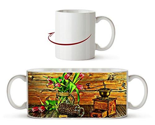StillLeben z ekspresem do kawy: rysunek jako kubek z motywem 300 ml, ceramiczny biały, wspaniały pomysł na prezent lub Twój nowy ulubiony kubek.
