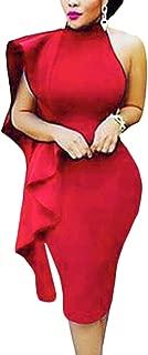Women One Shoulder Ruffle Sleeve Bodycon Midi Club Dress