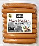 Wiener Würstchen im Schäldarm | perfekte Hot Dog Wurst geräuchert | Hotdog Würstchen ohne Darm in Eigenhaut frische Qualität aus Bautzen | 16 x 50g