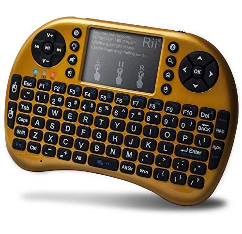 Rii Mini-Bluetooth-Tastatur mit Touchpad und QWERTY-Tastatur, Hintergrundbeleuchtung, tragbare kabellose Tastatur für Smartphones Laptop/PC/Tablets/Windows/Mac/TV/Xbox/PS3/Raspberry Pi (i8+ Gelb)