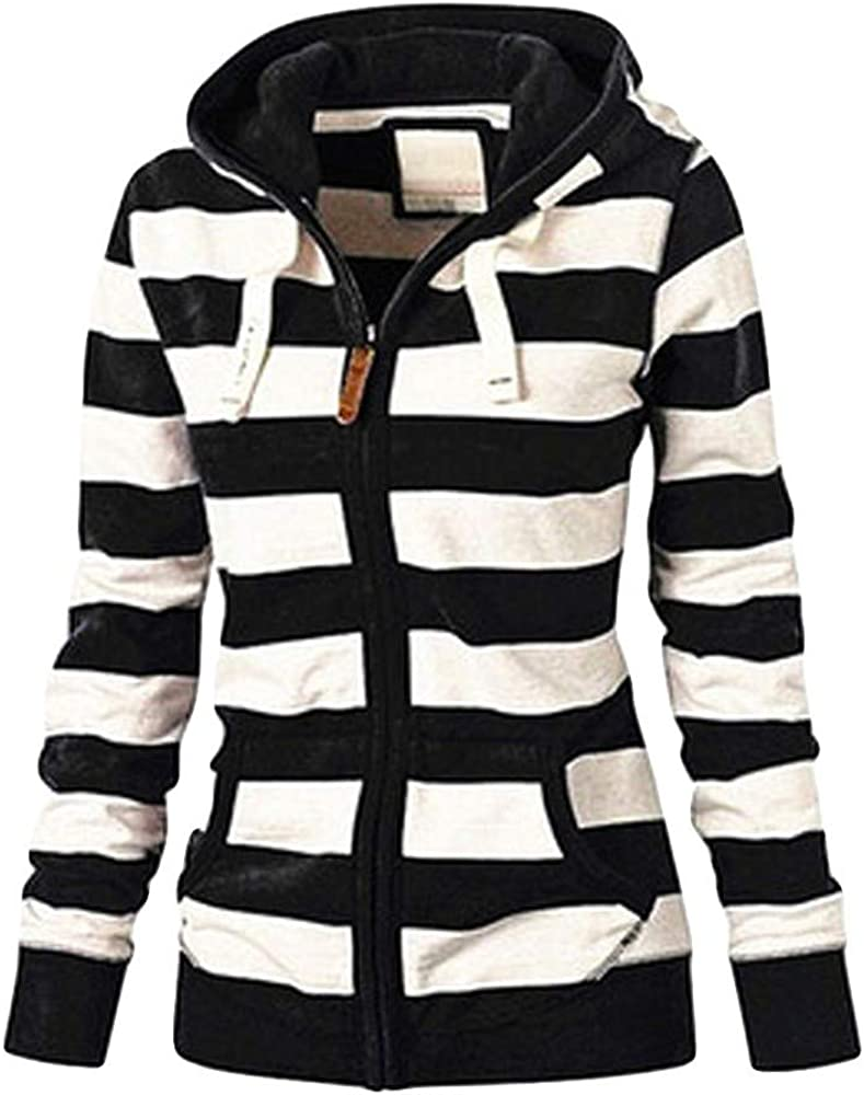OTTATAT Casual Hooded Zipper Coat for Women,2020 Spring Autumn Ladies Stripe Patchwork Stylish Comfort Warm Sweatshirt