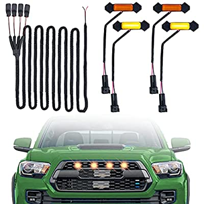 AutoJoy Club LED Grille Lights Compatible with 2016-2018 Toyota Tacoma TRD PRO Grille 4 PCS with Harness & Fuse Upgrade, Amber Shell with Amber Light